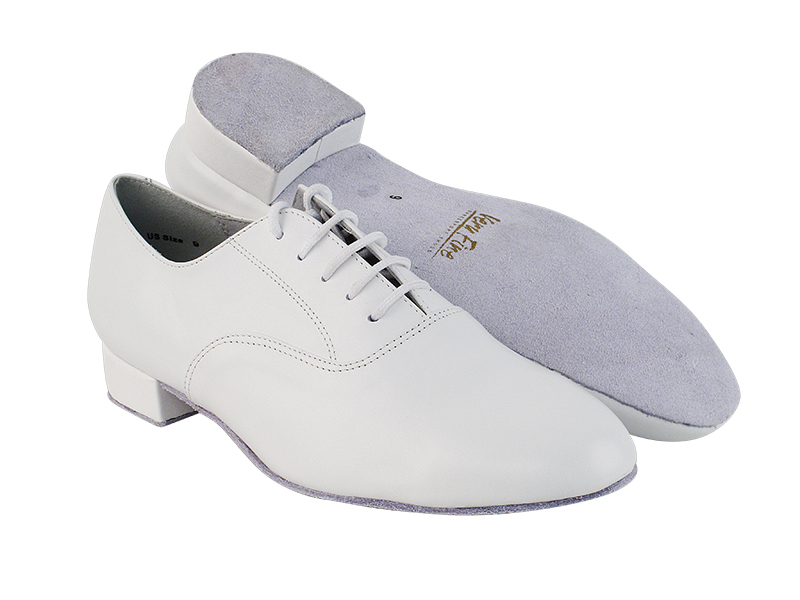 White leather salsa dance shoes