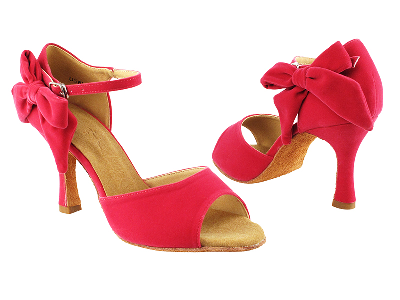 Red colour high heels salsa dance shoes for ladies