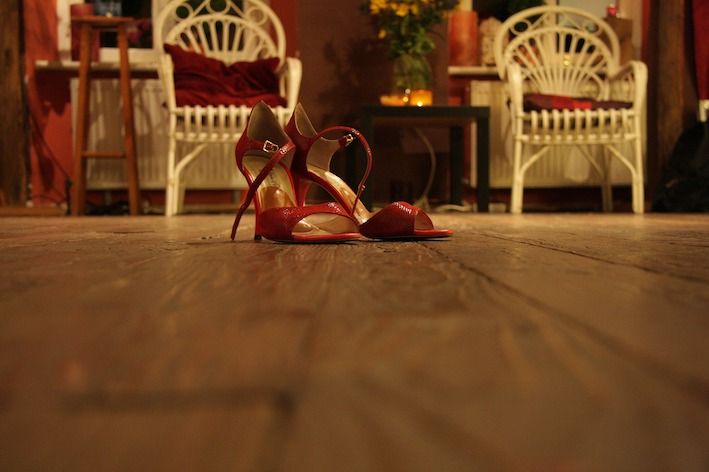 Red high heels female salsa dance shoes